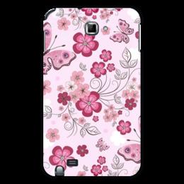 "Чехол для Samsung Galaxy Note ""Бабочки"" - бабочки, цветы, розовый фон"