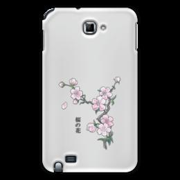 """Чехол для Samsung Galaxy Note """"Японская сакура"""" - цветы, рисунок, япония, иероглифы, сакура"""