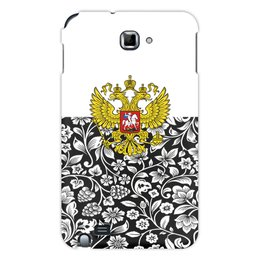 """Чехол для Samsung Galaxy Note """"Цветы и герб"""" - цветы, россия, герб, орел, хохлома"""