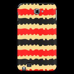 """Чехол для Samsung Galaxy Note """"Полоски с рванными краями"""" - полоска, черный, красный, бежевый, рванный"""