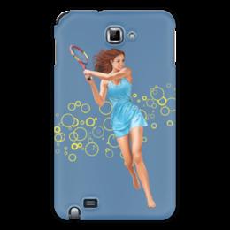 """Чехол для Samsung Galaxy Note """"Девушка с теннисной ракеткой"""" - девушка, спорт, рисунок, теннис, ракетка"""