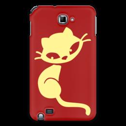 """Чехол для Samsung Galaxy Note """"Кошечка"""" - кот, красный, желтый, кошечка"""