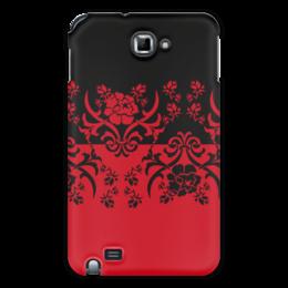 """Чехол для Samsung Galaxy Note """"Красно-черное"""" - цветы, узор, черный, красный, орнамент"""