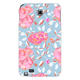 "Чехол для Samsung Galaxy Note ""Roses on blue"" - арт, роза, подарок, паттерн"