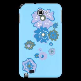 """Чехол для Samsung Galaxy Note """"Цветы"""" - цветок, голубой, синий, несколько"""