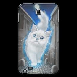 """Чехол для Samsung Galaxy Note """"ЛУННЫЙ КОТ"""" - кот, животные, рисунок, сказка"""