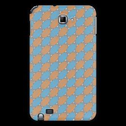 """Чехол для Samsung Galaxy Note """"Овальный узор"""" - серый, голубой, рыжий, линии, овал"""