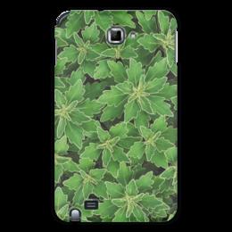"""Чехол для Samsung Galaxy Note """"Зеленые листья"""" - растение, белый, листья, зеленый, окантовка"""