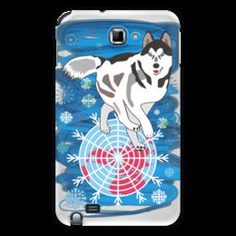 """Чехол для Samsung Galaxy Note """"Бегущая по снегам"""" - собака, снежинки, северное сияние, северное полушарие, хаски"""