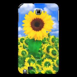 """Чехол для Samsung Galaxy Note """"Подсолнух"""" - лето, цветок, небо, облака, подсолнух"""