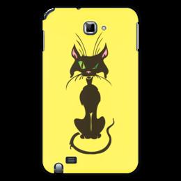 """Чехол для Samsung Galaxy Note """"Черный кот"""" - кот, глаз, зеленый, хвост, нос"""