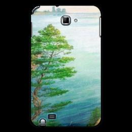 """Чехол для Samsung Galaxy Note """"Песчаный берег"""" - сосны, берег, река, природа"""