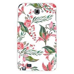 """Чехол для Samsung Galaxy Note """"Цветы на белом"""" - цветы, роза, листья, природа, пион"""