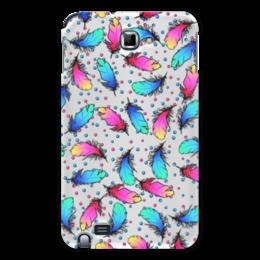 "Чехол для Samsung Galaxy Note ""Яркие перья"" - розовый, синий, яркий, перо, градиент"