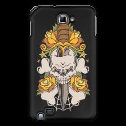 """Чехол для Samsung Galaxy Note """"Череп"""" - череп, нож, оружие, паутина, цветы"""