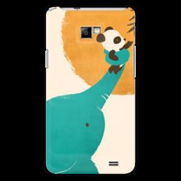 """Чехол для Samsung Galaxy S2 """"Панда и слон"""" - медведь, панда, рисунок, помощь, слон"""