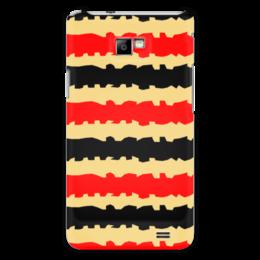 """Чехол для Samsung Galaxy S2 """"Полоски с рванными краями"""" - полоска, черный, красный, бежевый, рванный"""