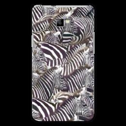 """Чехол для Samsung Galaxy S2 """"Зебры """" - полоска, зебра, акварель, стадо, черное-белое"""