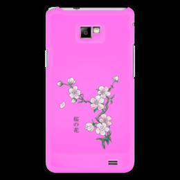 """Чехол для Samsung Galaxy S2 """"Японская сакура"""" - цветы, вишня, япония, иероглифы, сакура"""
