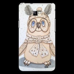 "Чехол для Samsung Galaxy S2 ""Совушка"" - зима, бежевый, птица, снег, иллюстрация"