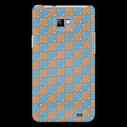 """Чехол для Samsung Galaxy S2 """"Овальный узор"""" - серый, голубой, рыжий, линии, овал"""