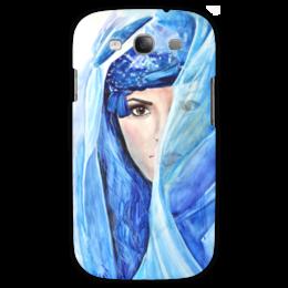 """Чехол для Samsung Galaxy S3 """"Восток"""" - арт, девушка, глаза, лицо, голубой, рисунок, взгляд, синий, цвет, восток"""