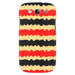 """Чехол для Samsung Galaxy S3 """"Полоски с рванными краями"""" - полоска, черный, красный, бежевый, рванный"""