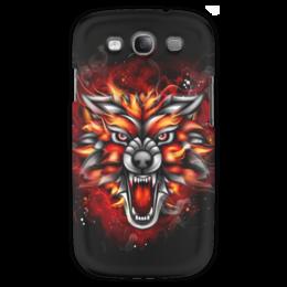 """Чехол для Samsung Galaxy S3 """"Wolf & Fire"""" - огонь, волк, fire, дым, wolf"""