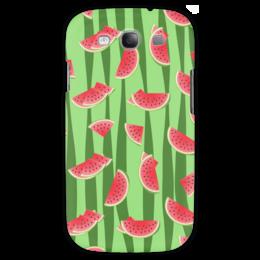 """Чехол для Samsung Galaxy S3 """"Арбуз"""" - полоска, красный, ягода, зеленый, семена"""