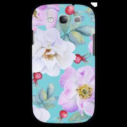 """Чехол для Samsung Galaxy S3 """"Шиповник на бирюзовом"""" - цветы, рисунок, шиповник"""