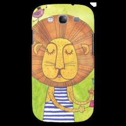 """Чехол для Samsung Galaxy S3 """"Лев Бонифаций в тельняжке"""" - лев, акварель, грива, бонифаций, тельняжка"""