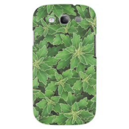 """Чехол для Samsung Galaxy S3 """"Зеленые листья"""" - растение, белый, листья, зеленый, окантовка"""