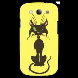 """Чехол для Samsung Galaxy S3 """"Черный кот"""" - кот, глаз, зеленый, хвост, нос"""