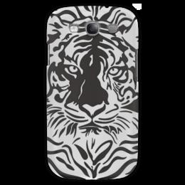 """Чехол для Samsung Galaxy S3 """"Взгляд Тигра"""" - рисунок, взгляд, графика, тигр, чёрное и белое"""