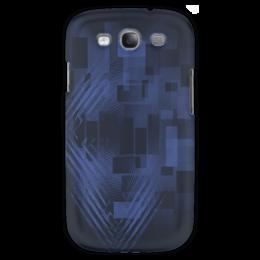 """Чехол для Samsung Galaxy S3 """"Светящиеся квадраты"""" - синий, оригинальный, паттерн, геометрический, прямоугольники"""