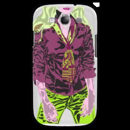 """Чехол для Samsung Galaxy S3 """"Шейный платок"""" - девушка, галстук, фиолетовый, зеленый, желто-зеленый"""