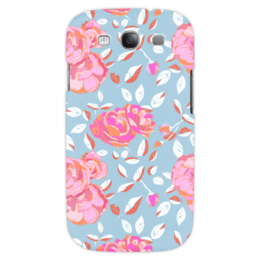 "Чехол для Samsung Galaxy S3 ""Roses on blue"" - арт, роза, паттерн, blue, roses"