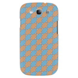 """Чехол для Samsung Galaxy S3 """"Овальный узор"""" - серый, голубой, рыжий, линии, овал"""