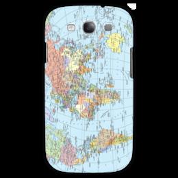 """Чехол для Samsung Galaxy S3 """"Карта мира"""" - мир, страны, карта, политика, география"""