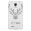 """Чехол для Samsung Galaxy S4 """"Dear Deer"""" - рисунок, дизайн, олень, минимализм, рога"""