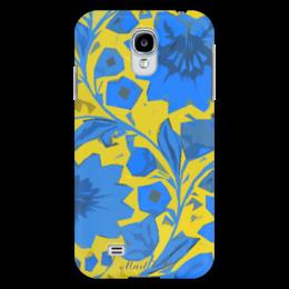 "Чехол для Samsung Galaxy S4 """"blue_yellow_pattern"""" - цветы, желтый, синий, yellow, blue, samsung, galaxys4"