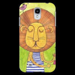 """Чехол для Samsung Galaxy S4 """"Лев Бонифаций в тельняжке"""" - лев, акварель, грива, бонифаций, тельняжка"""