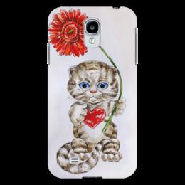 """Чехол для Samsung Galaxy S4 """"Котёнок с герберой"""" - кот, цветы, рисунок, котёнок, гербера"""