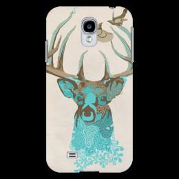 """Чехол для Samsung Galaxy S4 """"Олень"""" - арт, рисунок, птицы, birds, иллюстрация, олень, deer"""