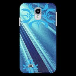 """Чехол для Samsung Galaxy S4 """"Синие прямые"""" - стиль, орнамент, сине голубой"""