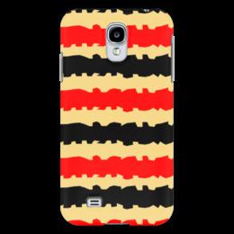 """Чехол для Samsung Galaxy S4 """"Полоски с рванными краями"""" - полоска, черный, красный, бежевый, рванный"""
