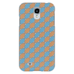 """Чехол для Samsung Galaxy S4 """"Овальный узор"""" - серый, голубой, рыжий, линии, овал"""