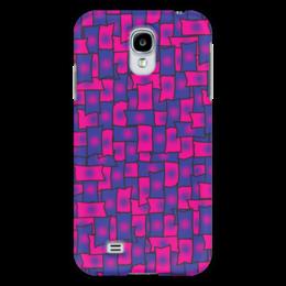 """Чехол для Samsung Galaxy S4 """"Прямоугольники"""" - черный, красный, синий, край, прямоугольник"""