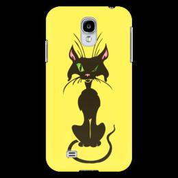 """Чехол для Samsung Galaxy S4 """"Черный кот"""" - кот, глаз, зеленый, хвост, нос"""
