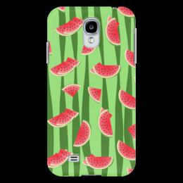 """Чехол для Samsung Galaxy S4 """"Арбуз"""" - полоска, красный, ягода, зеленый, семена"""